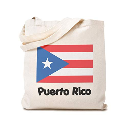 Custom Canvas Tote Reusable Shopping Bag Puerto Rico Flag New Baby Designs Beach Bags for Kids Natural Design Only