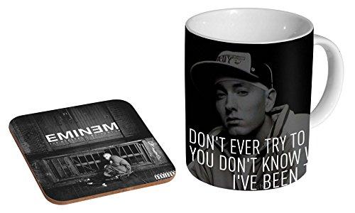 Eminem Zitat Awesome Keramik-Kaffeetasse + Untersetzer, Geschenk-Set