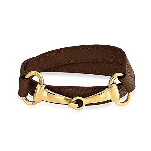 Bling Jewelry Braun Aus Echtem Leder Pferd Bit Cow Reiter Wickelarmband Für Damen Für Jugendlich Vergoldet Edelstahl