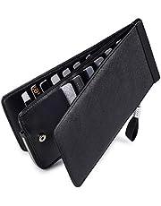 Huztencor 長財布 薄型 二つ折り メンズ レディース 磁気防止 カードケース カード26枚 収納 大容量 財布 人気 小銭入れ 男女兼用 RFID識別