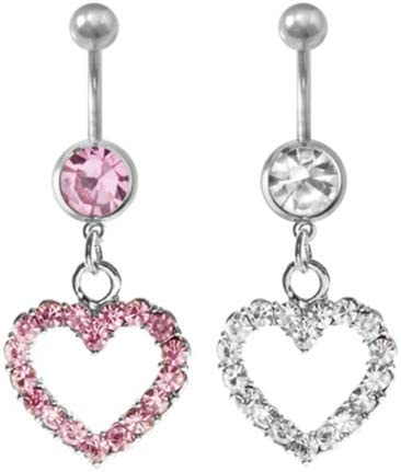 YuFanKits Belly Button Navel Ring,Womens Fashion Rhinestone Heart Stainless Steel Navel Ring Belly Body Piercing for Belly Dance Party Daily Life White