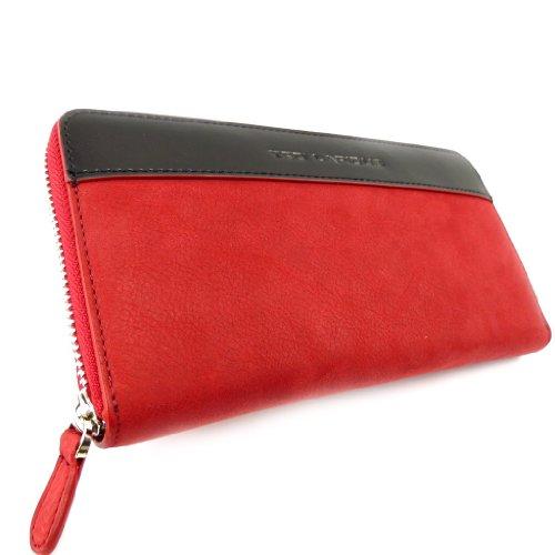 Ted Lapidus [K5733 - Portemonnaie mit scheckheft-etui reißverschluss leder rot schwarz.