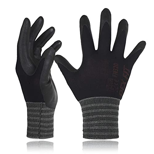 DEX FIT Nitrile Work Gloves FN320, 3D Comfort Stretch Fit, Power Grip, Durable Foam Coated, Thin & Lightweight Premium Nylon, Machine Washable, Black Small 3 Pairs