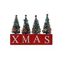 クリスマスのデスクトップの装飾木製のクリスマスツリーの飾りDIYミニペンダントデスクトップフェスティバルクリスマスパーティーの宴会のためのミニチュアツリー(赤)