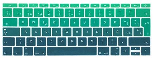 Silicona Skin Española Cubierta del teclado para MacBook Pro 13 pulgadas A1708 (sin barra táctil), lanzado en 2016 y MacBook Pro 12 pulgadas A1534, lanzado en 2015 (mezcle azul verde)