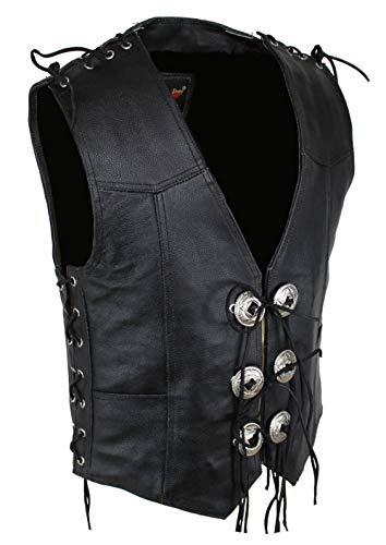 Kanchoo Lederweste mit Doppel Setien Schnür, Biker Leder Kutte, Custom Vintage Lederweste, Men's Biker Club Leather Vest, Größen XS bis 5XL (2XL, Schwarz)