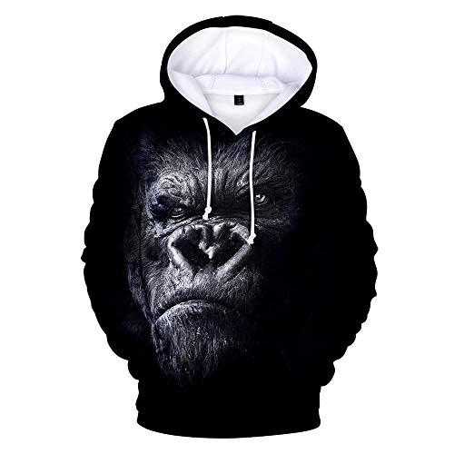 Hooded Casual 3D Printing Hoodies,Realistische Gorilla Zwart Lange Mouwen Ademende Unisex Sweatshirts Verstelbare Trekkoord Truien met Kangoeroe Pocket
