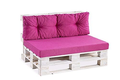 Palettenkissen Palettenauflagen Sitzkissen Rückenlehne glatt gesteppt PPF (Rückenlehne gesteppt 120x60, Pink)