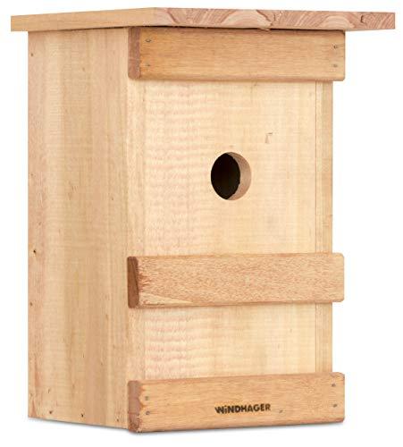 Windhager Nistkasten BIRDY, Vogelhaus Brutkasten Nisthilfe Vogelnistkasten, aus Massivholz, inklusive Aufhängevorrichtung, 17 x 17 x 24,5 cm, 06925
