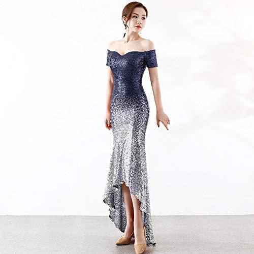 BINGQZ Feestjurk/Dames Off Schouder Hoge lage Navy Blauw Glanzende Pailletten Avondjurk Lange Formele Gala Prom Diner Elegante Feestjurk