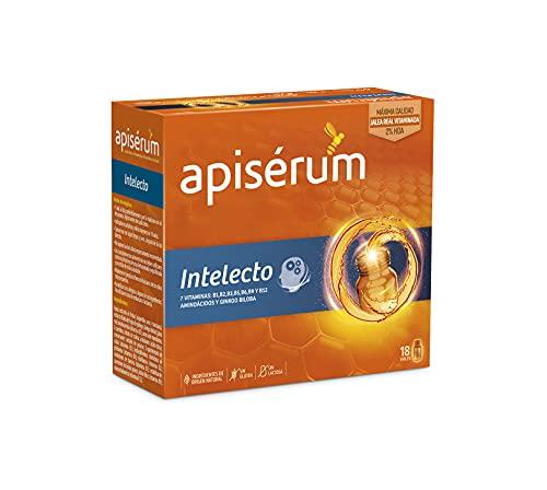 Apisérum Intelecto Viales Bebibles - Favorece el rendimiento intelectual, concentración y memoria , Multivitamínico con Jalea Real, Vitamina B, Aminoacidos y Ginkgo Biloba, Tratamiento para 18 días