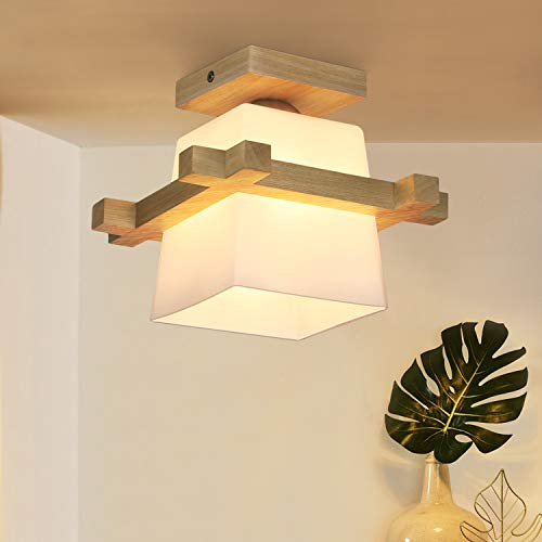 ZMH Deckenleuchte Flur Deckenlampe Holz und Glas Hängeleuchte E27 Deckenspot retro Deckenleuchte für Flur/Wohnzimmer/Büro/cafe 3 W Warmweiß Leuchtmittel NICHT inklusiv