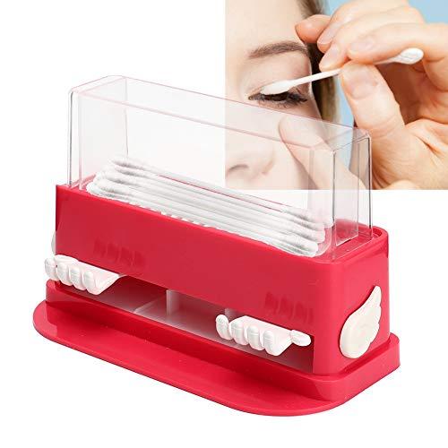 Étui de rangement en coton tige - extension de cils greffe boîte de support de choix de bâtonnets de coton propre, organisateur acrylique en coton-ball avec plateau coulissant(Rose rouge)