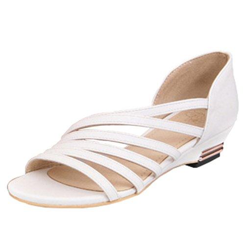 Dayiss Fashion Damen Sandaletten Sommer Keilabsatz Sandalen Riemchen Schuhe (EU 42=Tag 43, Weiß)