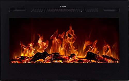 AFLAMO Majestic - Chimenea eléctrica de pared (750 W o 1500 W), simulación de fuego LED, profundidad de solo 14 cm (91 x 54 x 14)