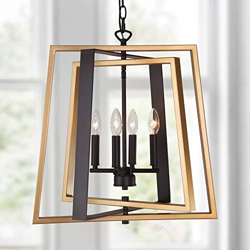 "LOG BARN Foyer Pendant Light for Entryway, Dining Room Lighting Fixtures Hanging, Gold Black Chandelier with Adjustable Frames, 4-Light, W20"""