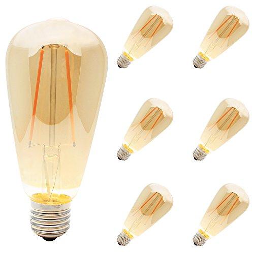 6pieza Edison 2W Casquillo E27LED Bombilla de filamento hilos lámpara vintage 2200K
