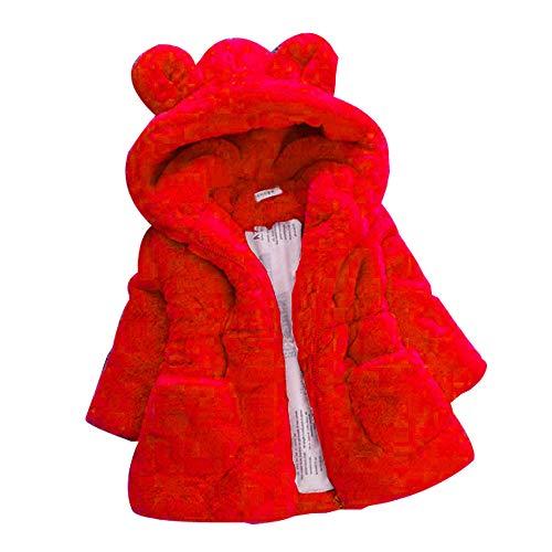 Giacca Ragazzo E Ragazza Giacche con Cappuccio Animale Mantello del Cappotto di Inverno della Pelliccia della Neonata Giacca Vestiti Caldi Spessi Abbigliamento 1-6 Anni (3-4 Anni, Rosso)