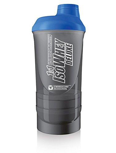 IronMaxx Super-Shaker - 700 ml - Rauchschwarz Blau - Protein-Shaker mit Pulverfach, Pillenfach, Drehverschluss, Sieb und Mess-Skala - Leicht zu reinigen - Designed in Germany