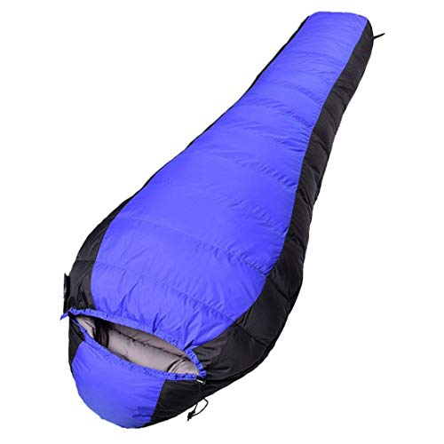Camping-Schlafsack Winter Outdoor Camping Schlafsack Dicke wasserdichte Eiderdaunen-Tasche (Color : Blue)
