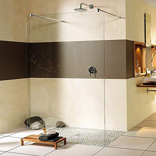 Walk-In Duschwand, Duschabtrennung freistehend, verschiedene Größen Aufmaß/Montage ohne, Nanobeschichtung ohne Nanobeschichtung, Stabilisator rund, Breite 100 cm