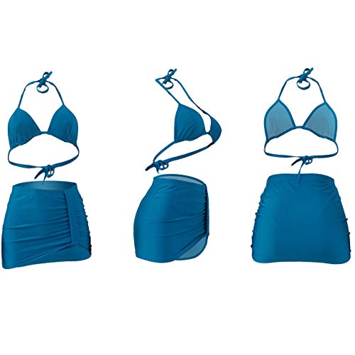 Ophestin Womens Sexy Halter Tie Triangle Bikini Set 3 Piece Swimsuit Ruched Skirt Cover Up - blue - XX-Large
