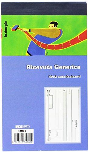 Edipro E5563C - Blocco ricevuta generica 50x2 autoricalcante - Formato 9,9x17 cm, 1 pezzo