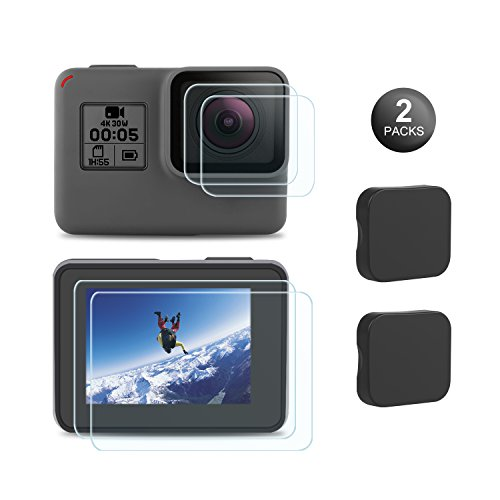 Schutzfolie kompatibel mit GoPro Hero7 Black Only/2018/6/5, Hartglas Bildschirmschutz+Hartglas Objektivschutzfolie+Objektivabdeckung Objektivdeckel Zubehör Go Pro Hero7Black/2018/5/6-2Pack