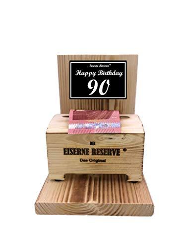 * Happy Birthday 90 Geburtstag - Eiserne Reserve ® Geldbox - Geldgeschenk Schatztruhe - Die lustige Geschenkidee - Geld verschenken