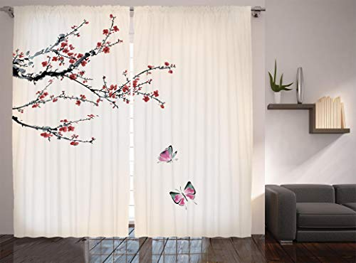 Ambesonne Watercolor Flower Curtains, Blossoming Cherry Tree Butterflies Japanese Sakura Artwork, Living Room Bedroom Window Drapes 2 Panel Set, 108' X 90', Coral Ivory