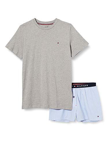 Tommy Hilfiger SS Short Set Woven Print Pijama, Gris, 12-13 años (Talla del Fabricante:) para Niñas