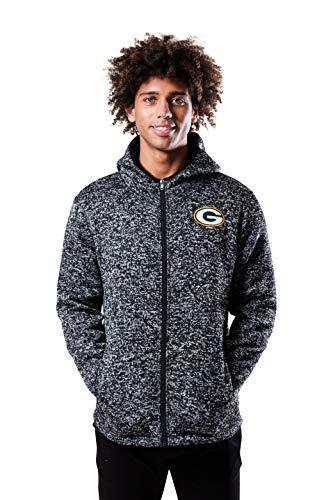 NFL Ultra Game Green Bay Packers Full Zip Fleece Hoodie Letterman Varsity Jacket, Large, Team Color