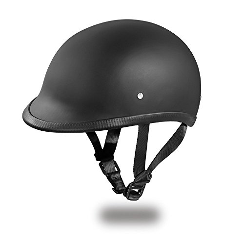 Daytona Helmets Hawk Polo Style Half Shell Helmet (Dull Black, Large) with Head Wrap and Draw String Bag