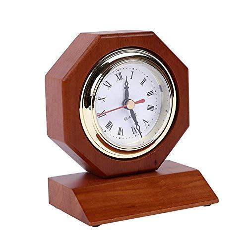 MingXinJia Relojes de Cabecera para el Hogar Reloj Despertador Reloj de Mesa Silencioso Vintage de Madera Decoración de Escritorio para Sala de Estar Dormitorio Oficina Regalo de Inauguración de la C