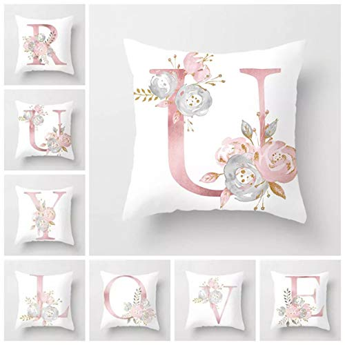 Fundas de almohada decorativas del alfabeto 26 letras inglesas florales, color blanco, protectores de almohada para sofá, ropa de cama de coche y hogar, fundas de almohada ABC, letras flores