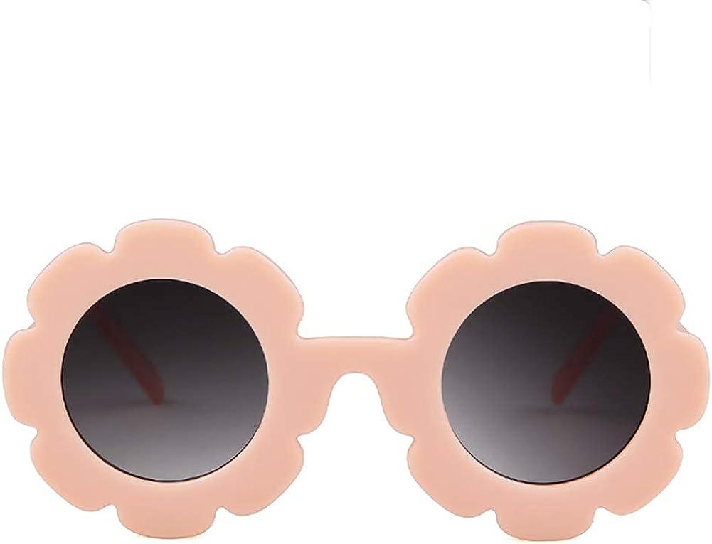 Kids Sunglasses Round Flower UV400 Protection Colorful Glasses for Children Girl Boy