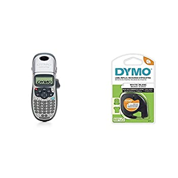 DYMO LetraTag 100H Plus Handheld Label Maker for Office or Home & LT Tape Cartridge for Dymo LetraTag Label Makers Adhere to Fabrics Using an Iron 1/2-Inch x 6.5 Feet Black on White Pack of 1
