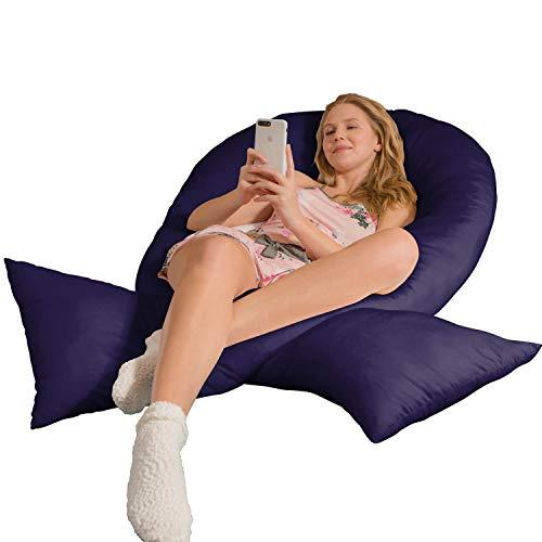 Traumreiter Jumbo XXL Seitenschläferkissen mit Bezug Marine-blau I Schwangerschaftskissen U Form Full Body Pillow Seitenschläfer Kissen für Schwangere Lagerungskissen