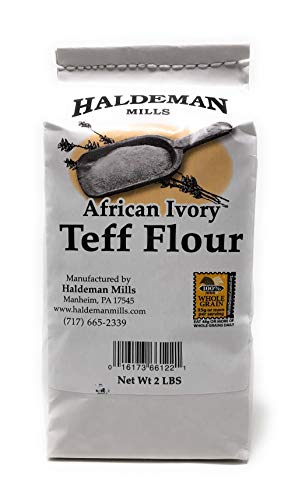 Haldeman Mills Whole Grain African Teff Flour, Perfect for Baking and Cooking, 2 Lb. Package (Ivory Teff)