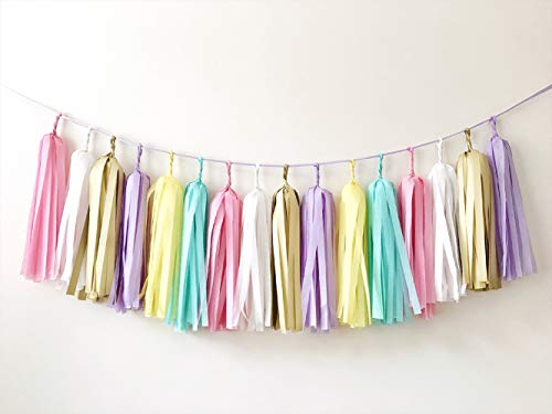 Mefuny 30 PCS Tissue Paper Tassel DIY Party Garland Decor for All Events & Occasions(Unicorn Pastel)
