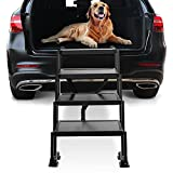 Niubya Foldable 4 Step Dog Stairs, Portable Dog Steps for Cars, Trucks, SUV and High Beds, Lightweight Pet Ramp Loader with Wide Platform, Suitable for Small to Large Dogs, Up to 120lbs