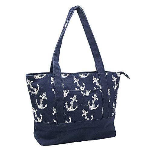 Allgala Premium 17IN Medium Canvas Tote Bag-Anchor Blue-AL3012AR