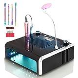 MAIZHAN Colector de Polvo Uñas 5 en 1 Máquina Profesional Multifunción de Taladro Uñas y lámpara Uñas con luz LED y Juego de Empujador de Cutículas de 4 Piezas para Salón y Principiantes