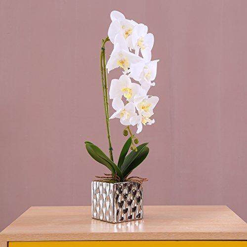 Alicemall Flores Artificiales Flor Mariposa con Maceta Blanco Decoraci