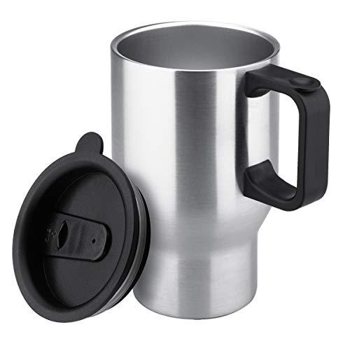 Isosteel VA-MC304 0,4 Liter mit Henkel Doppelwandiger Autobecher, Passend für gängige Autohalterungen, 18/8 Edelstahl, BPA frei
