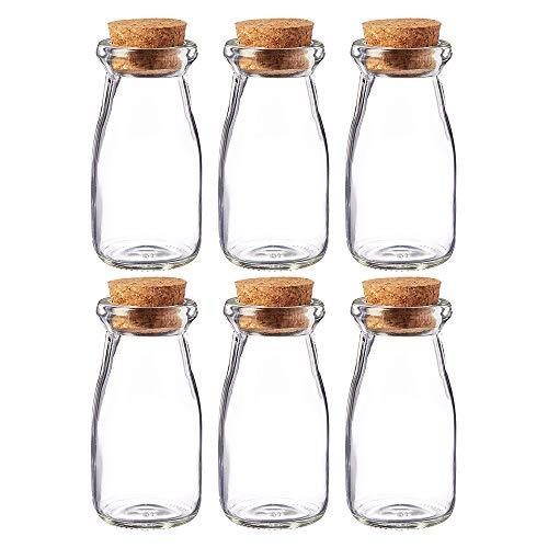Danmu Art - 6 botes de cristal de 100 ml con tapones de corcho y botellas de vidrio de leche tarros de yogurt