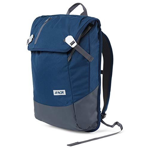 AEVOR Daypack Expandable Backpack Ergonomic Laptop Compartment Water-Repellent Midnight Navy Blue
