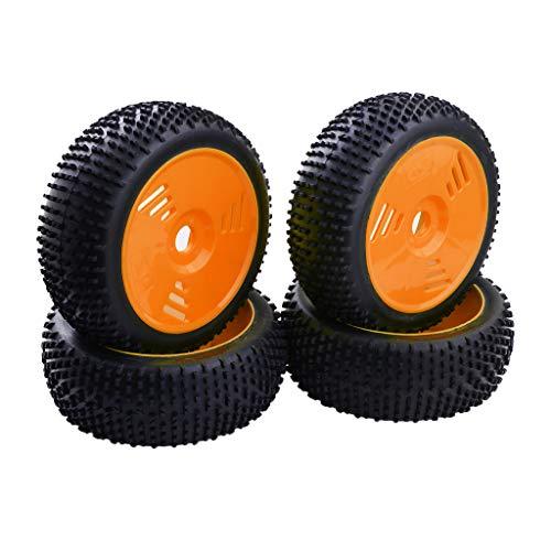 Baoblaze 4 / Juego de Ruedas y Neumáticos Piezas de Repuesto Delanteras y Traseras para 1: 8 RC Car HSP, Kyosho - Naranja