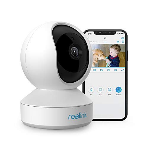 Reolink 3MP Telecamera Wi-Fi Interno con Pan&Tilt, Videocamera Sorveglianza WiFi da 2.4 GHz con Audio a 2 Vie, Visione Notturna e Rilevazione del Movimento, E1