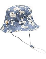 Sombrero La prueba impresa Delgado Banda sol de los niños de la moda casual sombrero extendido impreso historieta del algodón del cabrito al aire libre del sombrero de Sun ( Color : Blue )